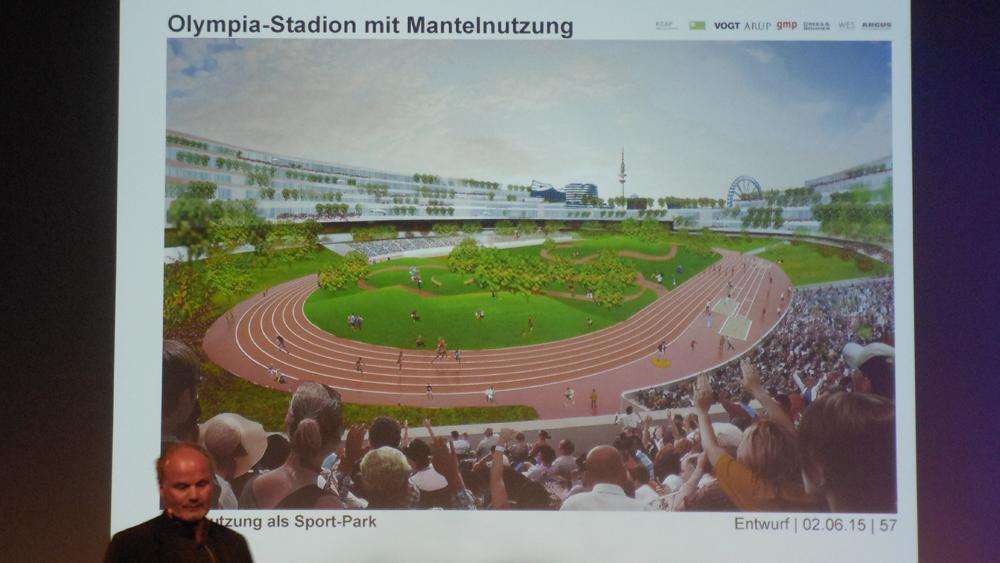 Nach Olympia könnte die Mitte des Stadions zu einen Park umfunktionalisiert werden