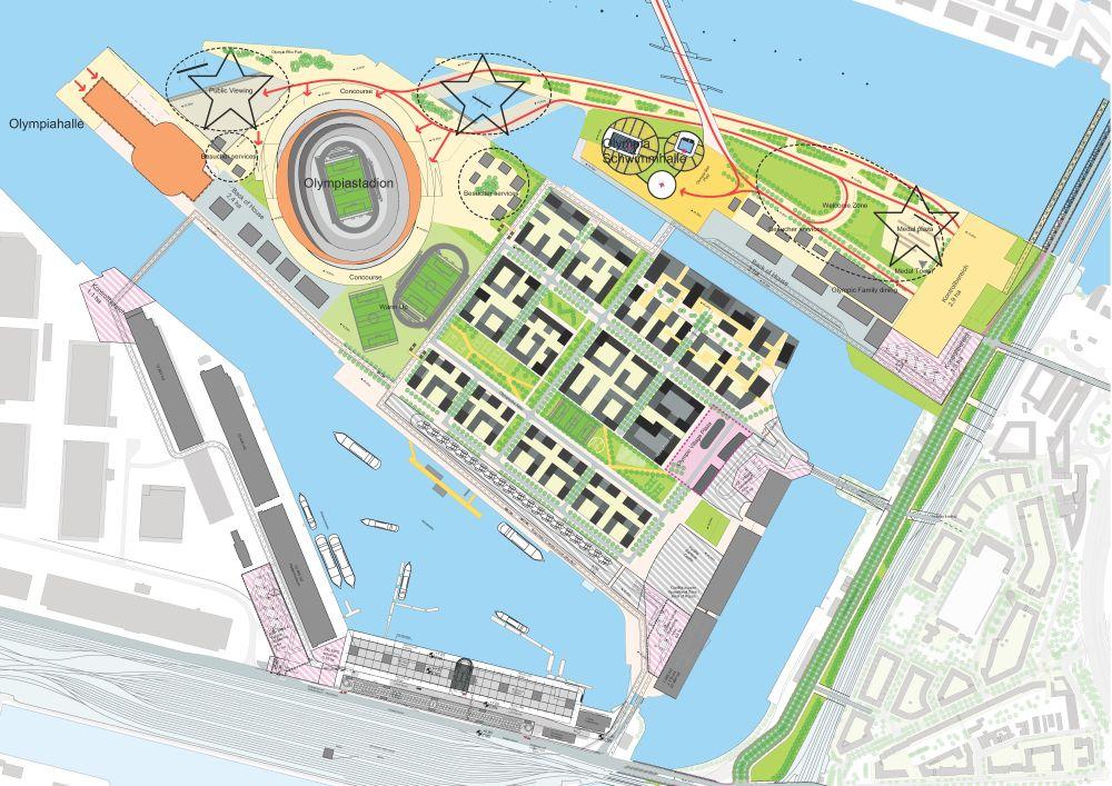 So stellt sich das Architekten-Team das Olympische Gelände auf dem kleine Grasbrook vor.  Bild (c): KCAP, Arup, Vogt, Kunst + Herbert |GMP, WES, Drees & Sommer